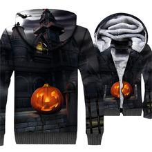 Halloween Tracksuit 2018 Fashion Winter Thick Men's Hoodies Streetwear Zip Up Jacket 3D Print Jack Skellington Sweatshirts Coats