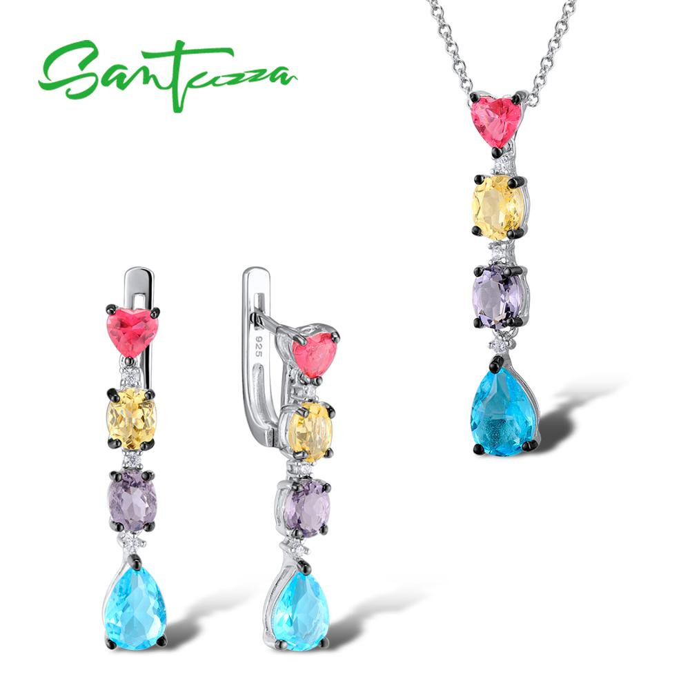 Silver Jewelry Sets For Women Mutil-Color Stone White CZ Stones Earrings Pendant Set 925 Sterling Silver Fashion Jewelry Set