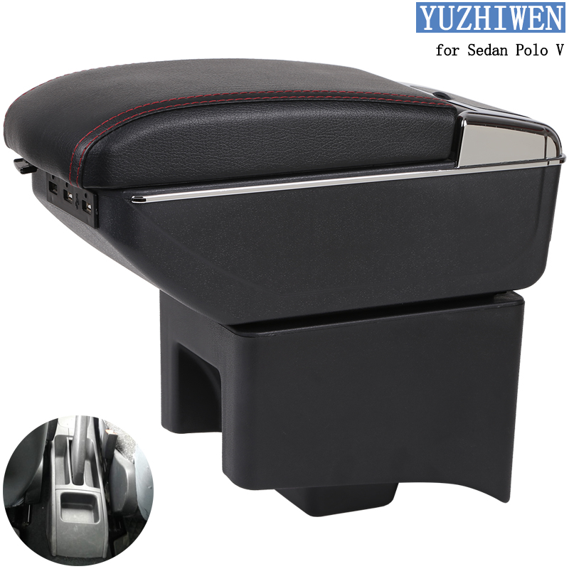 9N//9N3 For Polo Mk4 2002-2009 Car Center Console Armrest Box Interior Fittings Storage Organizer with Cup Holder /& Ashtray /& 7 USB Ports Black
