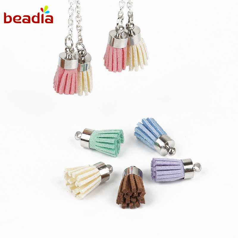 18mm 10pcs/20pcs Suede Tassels For DIY Earrings Dangler Keychain Cellphone Straps Jewelry Charm Tassel Plated Caps Accessories