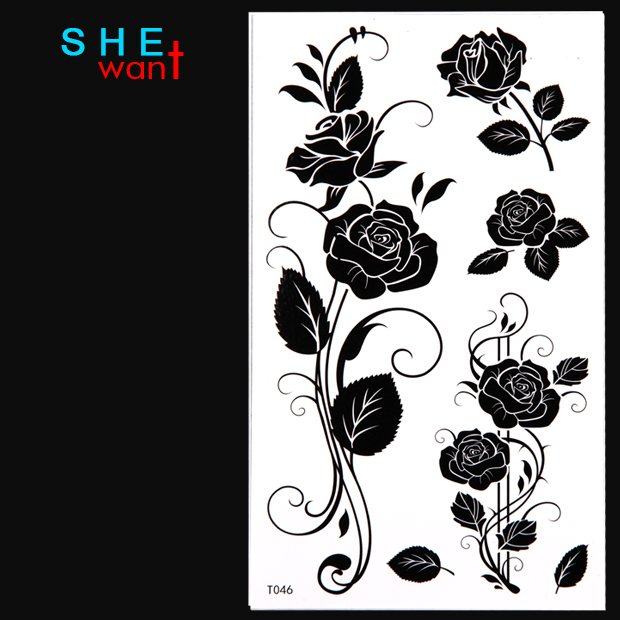 2017 Limited Real Temporary Tattoo Black Rose Flower Sticker Women