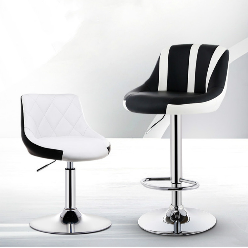 Bar Chairs European Unique Design Simple Fashion Pu Backrest Bar Chair Lifting Stool Bar Height Adjustable Free Shipping And Digestion Helping