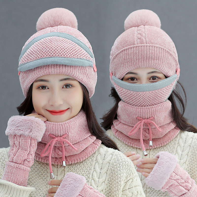 Beanies Hat Female Winter Wool Skullies Cap Thickening Warm Ear Protection Cold Proof Cycling Knitted Caps Fashion Gloves H7285