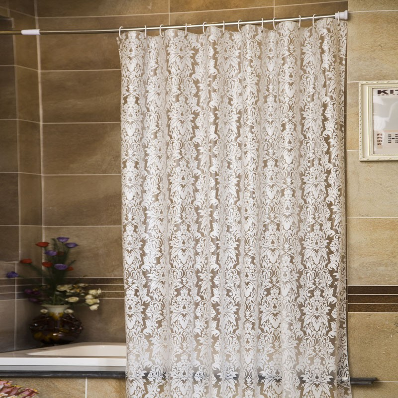 White Mold In Bathroom: Lace Floral Pattern PEVA White Bathroom Curtains