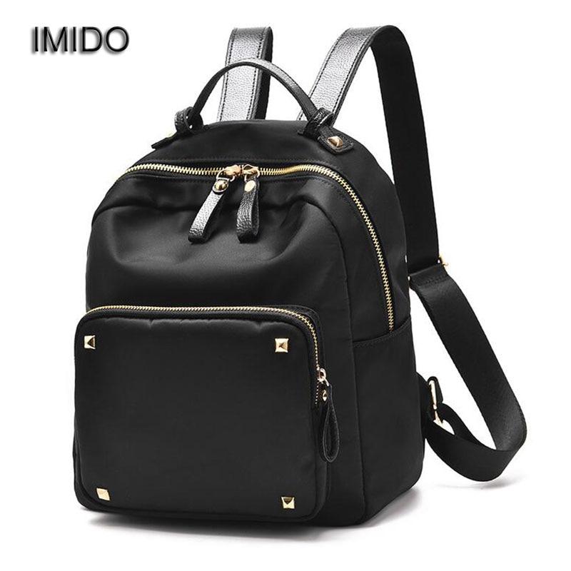 IMIDO Women Backpack Waterproof Nylon Lady Womens Backpacks Female Casual Travel Bags Backbag Mochila Feminina Purple SLD032