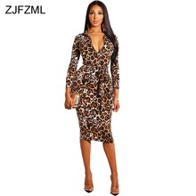 e44a578d8231 Leopard Print Vintage Pencil Dress Women Deep V Neck Long Sleeve Bandage Midi  Dress Elegant Front Zipper Belted Club Party Dress