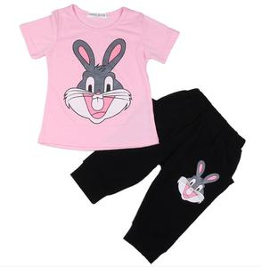 2019 Children Rabbit Girls Clothe cotton Sport Suit 2 3 4 5 6 Years Kids Clothing Sets Baby girl clothing set Summer Tracksuits(China)