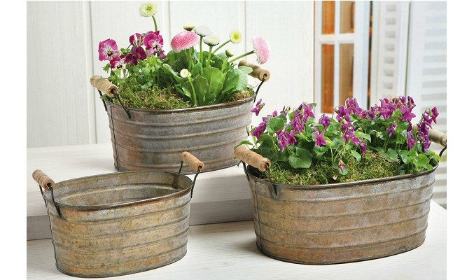Free Shipping Vintage Garden Flower Pot Set Rustic Style