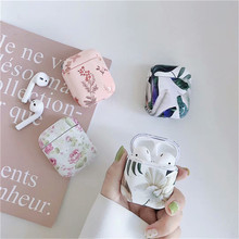 Abstract Art Flower Case For Apple Airpods 2 Marble Bluetooth Earphone Hard Cover Leaf Headphone Case For Air pods Accessories