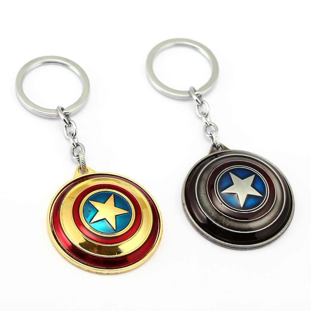 Dönebilen Kaptan Amerika Anahtarlık 2016 Sıcak Satış Tasarım Avengers Shield Film Takı llavero Anahtarlık Halka Tutucu Llavero