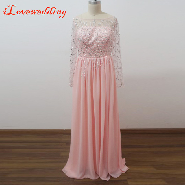 Real Image Pink Long Prom Dresses A Line Floor Length Full Sleeve ...