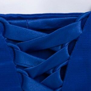 Image 4 - Dressv appliques robe de cocktail bleu marine foncé encolure dégagée sans manches longueur au genou une ligne perles retour robes de cocktail courtes