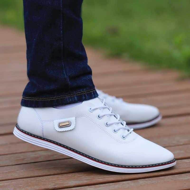 야외 통풍 스 니 커 즈 남자 PU 가죽 비즈니스 캐주얼 신발 남성 2019 패션로 퍼 산책 신발 Tenis Feminino