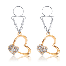 Hot Crystal Sexy Non Pierced Nipple Piercing Rings Gold Heart Clip On