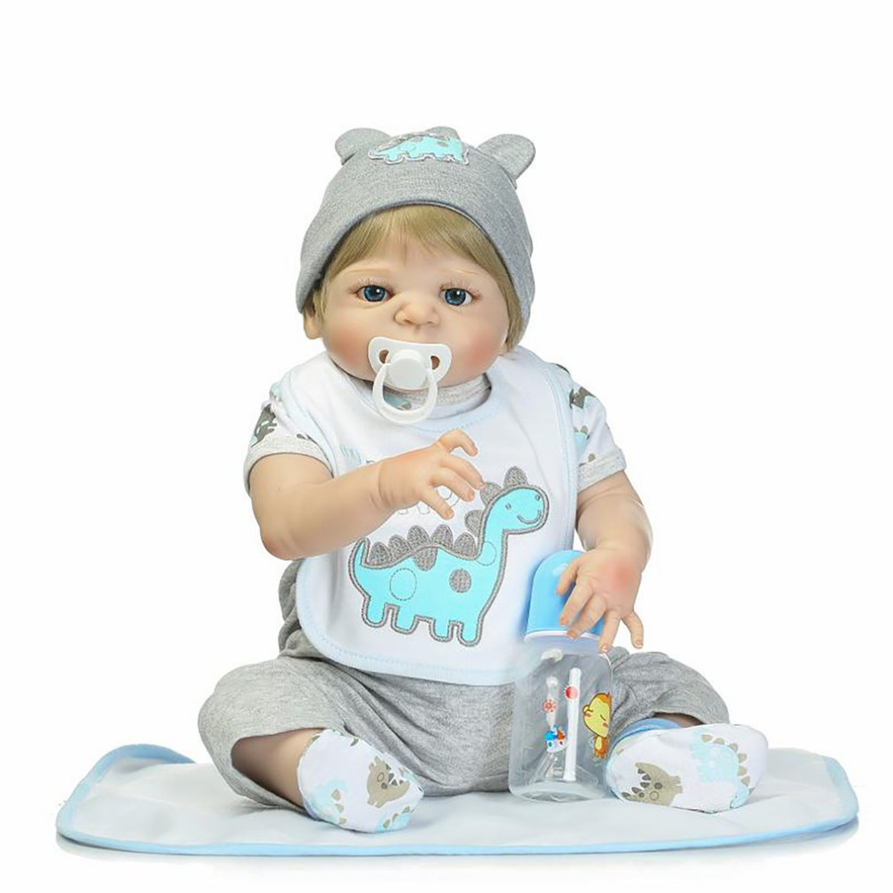 где купить 56cm Full Body Soft Silicone Vinyl Baby Doll Handmade Lovely Lifelike Realistic Toddler Newborn Baby Doll Toys Non-toxic дешево