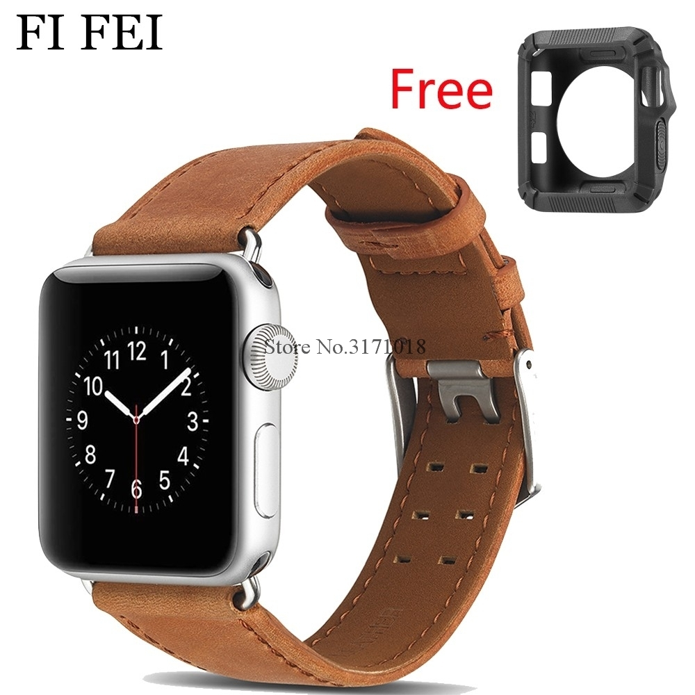 FI FEI New Leather Watchband for Apple Watch Band Series 3 2 1 Leather 42MM 38MM Strap Band Wrist Watch Bracelet 38 42 mm