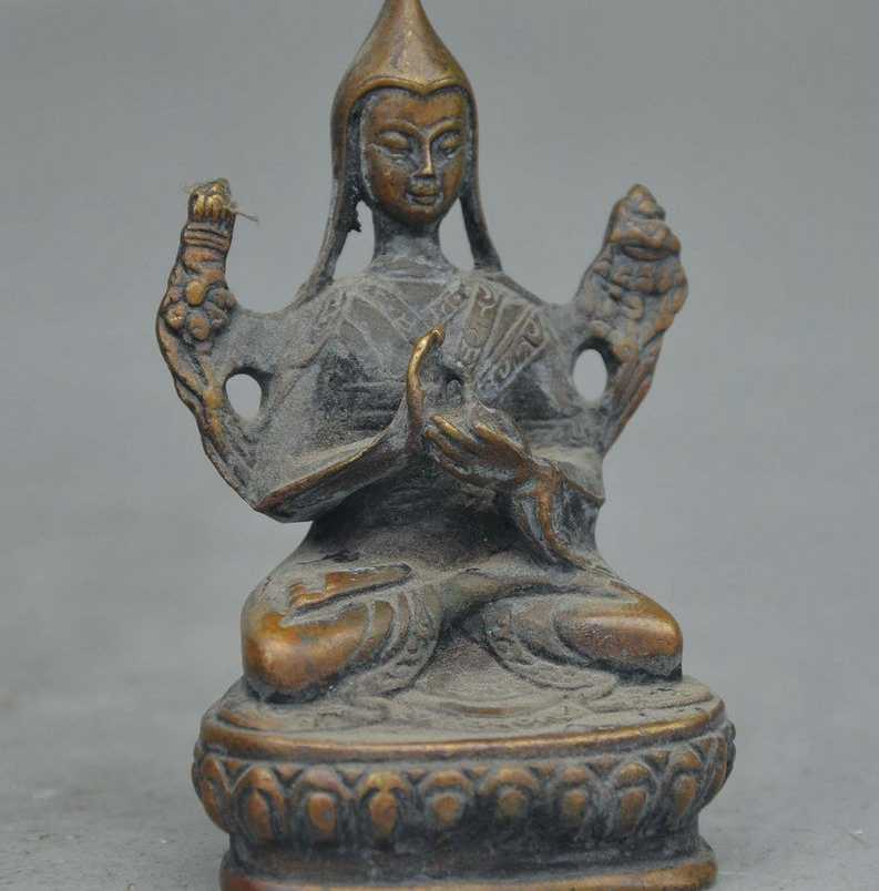 SCY Velho Tibete Budismo Bronze Je Tsongkhapa Lama Tsong. Ka. Pa Buda Estátua Estatueta
