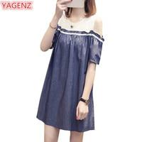 YAGENZ Summer Dress Women Gloria Jeans Lace Dresses Fashion Denim Ladies Dresses Plus size Off Shoulder Dress For Women 5xl 1042