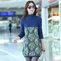 Women Sweaters Pullovers Dress 2017 New Winter Warm Turtleneck Woman Sweater Floral Print Knitwear Tunics Poncho Plus Size 3XL