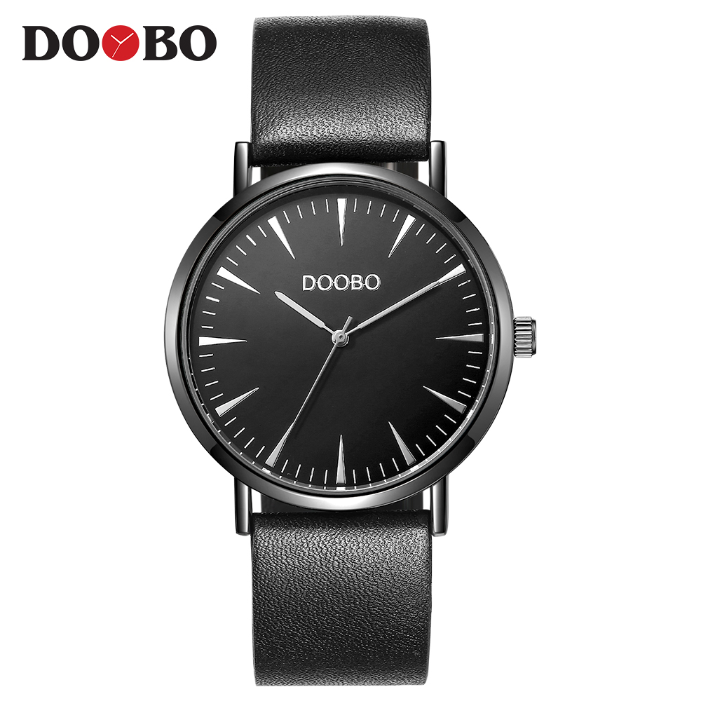 Super slim Quartz Casual Wristwatch Business DOOBO Top Brand Leather Analog Quartz Watch Men's Fashion 2017 saat relojes hombre onlyou women top brand fashion watch super slim quartz waterproof wristwatch females casual fabric gift watces wholesale