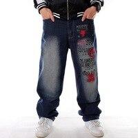 Men Denim Pants Loose Streetwear Hip Hop Casual Skateboard Jeans Letter embroidery Baggy Jeans Pants for Men Plus Size Trousers