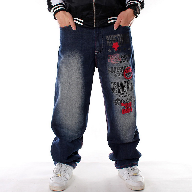 Men Denim Pants Loose Streetwear Hip Hop Casual Skateboard Jeans Letter Embroidery Baggy Jeans Pants For Men Plus Size Trousers