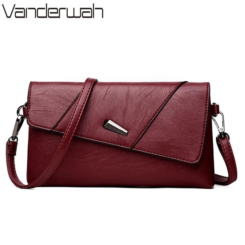 VANDERWAH 2018 Fashion Women's Clutch Bag Leather Women Famous Brands Shoulder Bag Clutch Female Bolsas Day Clutches Handbag