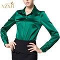 S-XXXL женщины Моды шелка, атласа блузка кнопка дамы шелковая блузка рубашка вскользь офис Зеленый Белый Черный с длинным рукавом атласа 8041