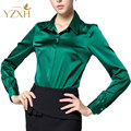 S-XXXL women Fashion silk satin blouse button ladies silk blouse shirt casual office Green White Black long sleeve satin 8041