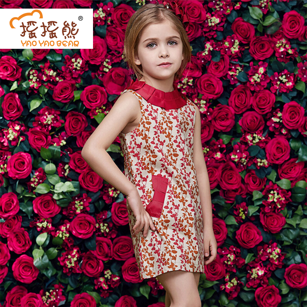 Fashion Sleeveless Girls Dress Kids Clothes Print Girls Party Dress disfraces infantiles princesa European and American Style 100% real photo brand kids red heart sleeve dress american and european style hollow girls clothes baby girl clothes