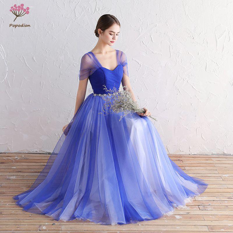 Popodion verano azul vestidos de dama de honor larga para invitados ...