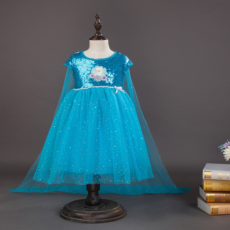 Free shipping 2018 girl's new cotton lining FROZEN dress snow queen Elsa sequins princess dress children's birthday dress cloak