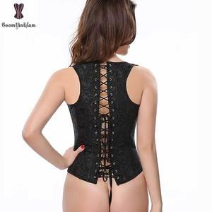 Image 5 - פרחוני אפוד Underbust מחוך רצועת כתף בתוספת גודל מחוך ספירלת פלדה גרומה תלבושת נשים Bustier Busk סגירת Waisttrainer