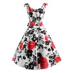 50S Vintage Hepburn Style Rose Print Flare Dress 2