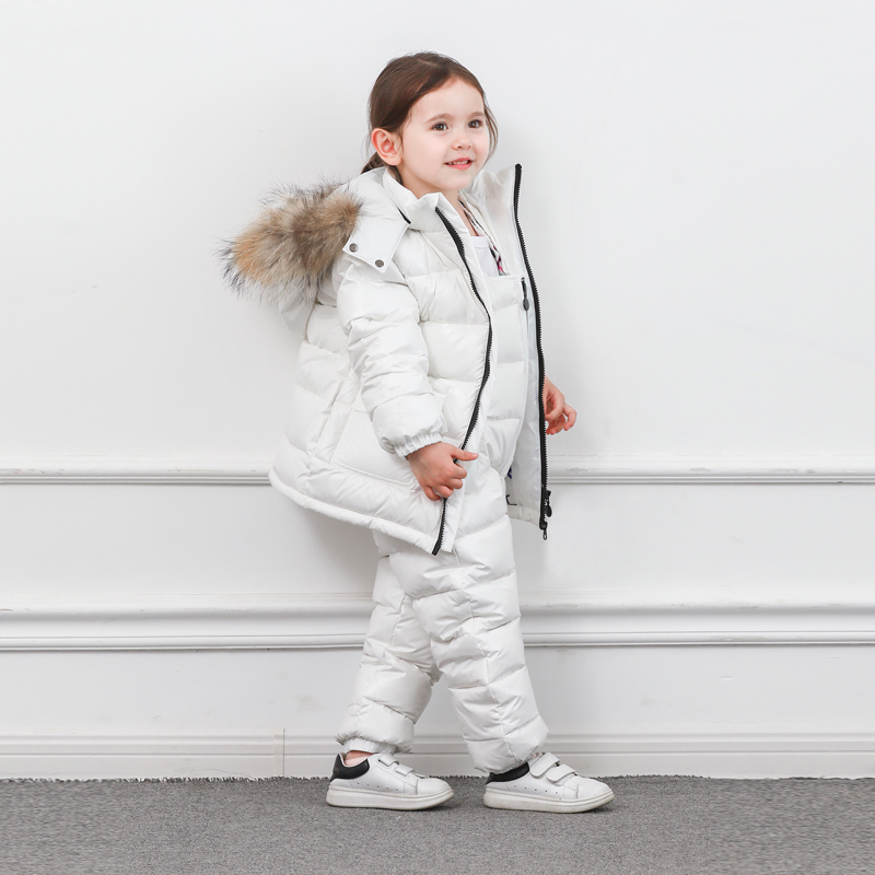 Image 4 - Winter Children Down Suit Long  Zipper Solid White Duck Down Boys Girls Down Jackets Thickening Jacket + Pants Two piece Clothes-in Clothing Sets from Mother & Kids