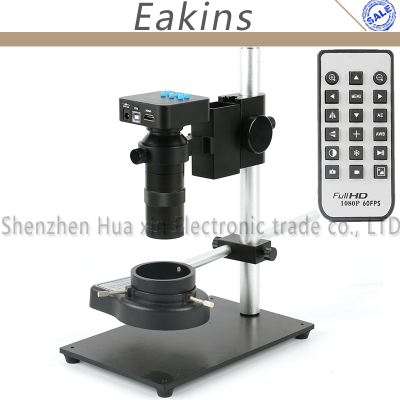 16MP 1080P Industrial Video Microscope Camera Set HDMI USB Outputs 100X C-Mount Lens 144 LED Light Stand For Industry Lab PCB usb hdmi 1080p 16mp digital industrial video recorder microscope camera set 100x c mount lens 56 led light for pcb soldering