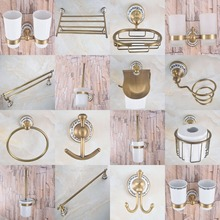 Antique Brass Ceramic Flower Bathroom Accessories Towel Ring, Paper Holder, Toilet Brush, Coat Hook, Bath Rack, Soap Dish aba770 antique brass luxury bathroom accessory paper holder toilet brush rack commodity basket shelf soap dish towel ring