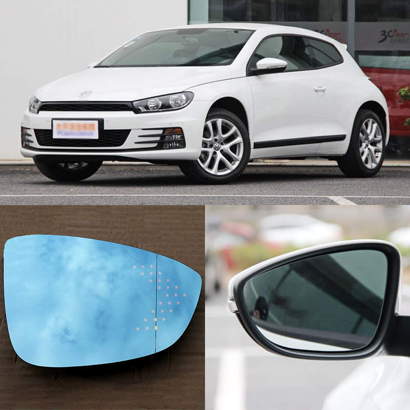 For Volkswagen Scirocco Brand New Car Rearview Mirror Blue Glasses LED Turning Signal Light with Heating for volkswagen sagitar brand new car rearview mirror blue glasses led turning signal light with heating