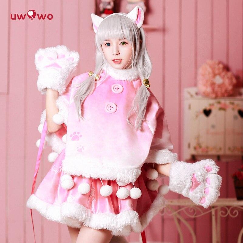 UWOWO Miracle Nikki Costume Game Miracle Nikki Uwowo Cosplay Pink Cat Neko Women Red Skirt Kawaii Costume Girls