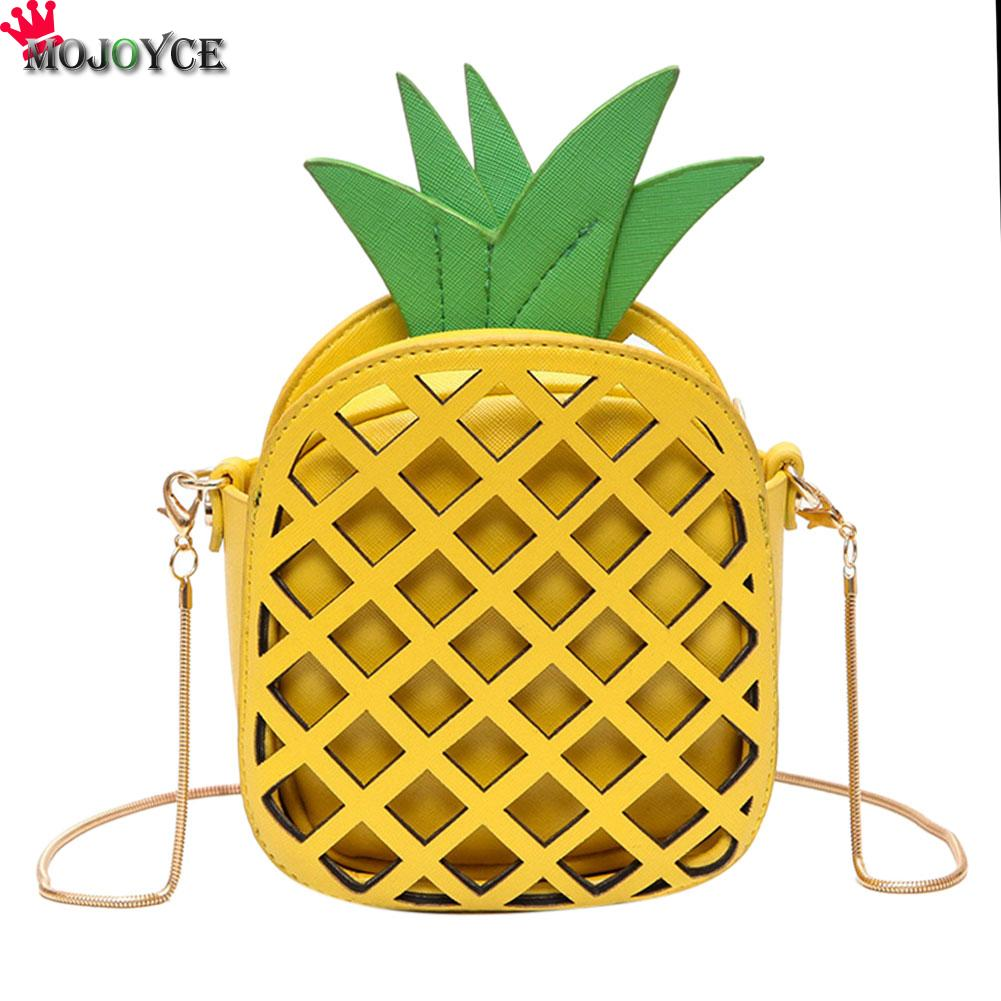 Brand Cute Leather Handbag for Girls Lovely Pineapple Women Messenger Bags with Chain Hollow Out Mini Fruit Shape Crossbody Bag cute love heart hollow out bracelet watch for women