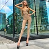 Free Shipping 2016 New Top Fashion Exquisite Cross Lace Up Side Deep Vneck Women Bodysuit Bandage