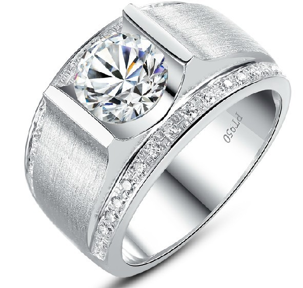 High Quality Real 925 Sterling Silver Diamond Wedding Ring