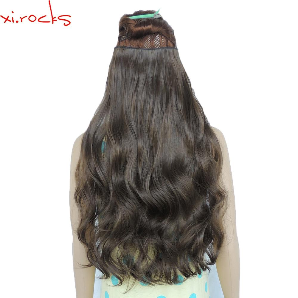 Wjj12070/8A 2 Peça Xi. rochas 5 Clips peruca Grampo na Extensão Do Cabelo Sintético Extensões de cabelo Encaracolado Peruca Hairpin Ferrugem Marrom perucas