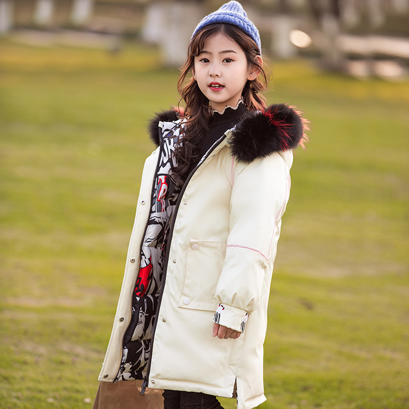 HSSCZL 2019 New girls down jacket duck fashion natural fur collar hooded warm outerwear overcoat children winter thicken coat