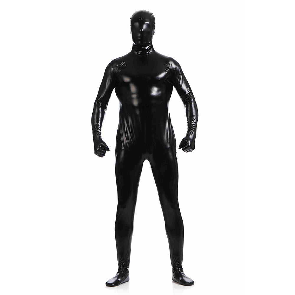 Shiny Metallic Unitard Zentai Suit All Black Full Body Suit Tights Adult Unisex Catsuit Fancy Dress Halloween Party Costumes