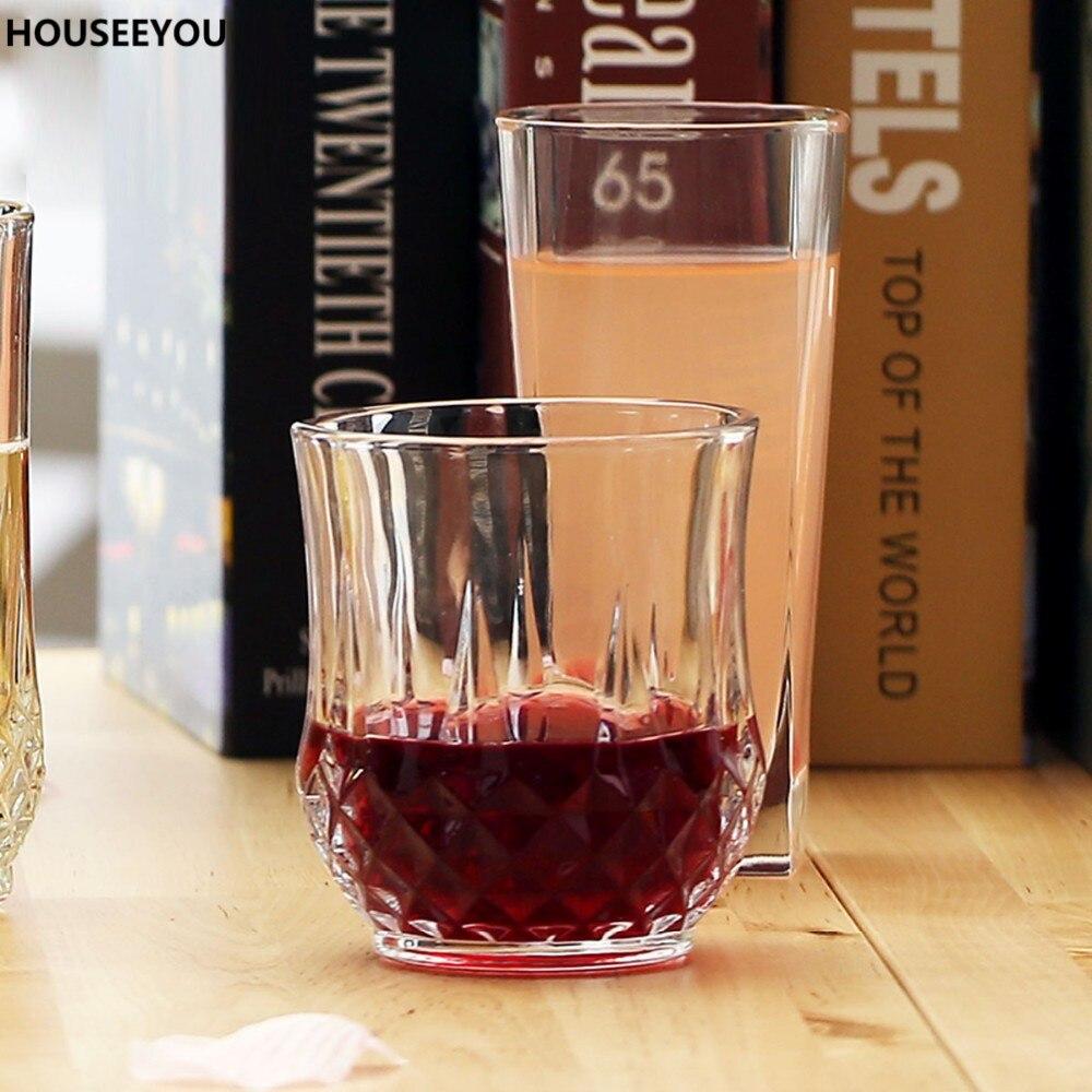 Glass juice cups design - 270ml Drinkware Lead Free Wine Glass Engraving Crystal Juice Mug Whisky Beer Cup Water Tumbler Bar