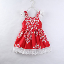 Fashion Christmas Dress For Girls Baby Girl Princess Party Pageant Red Dresses 2018 Bebes Tutu Floral Dress For Girls Vestidos