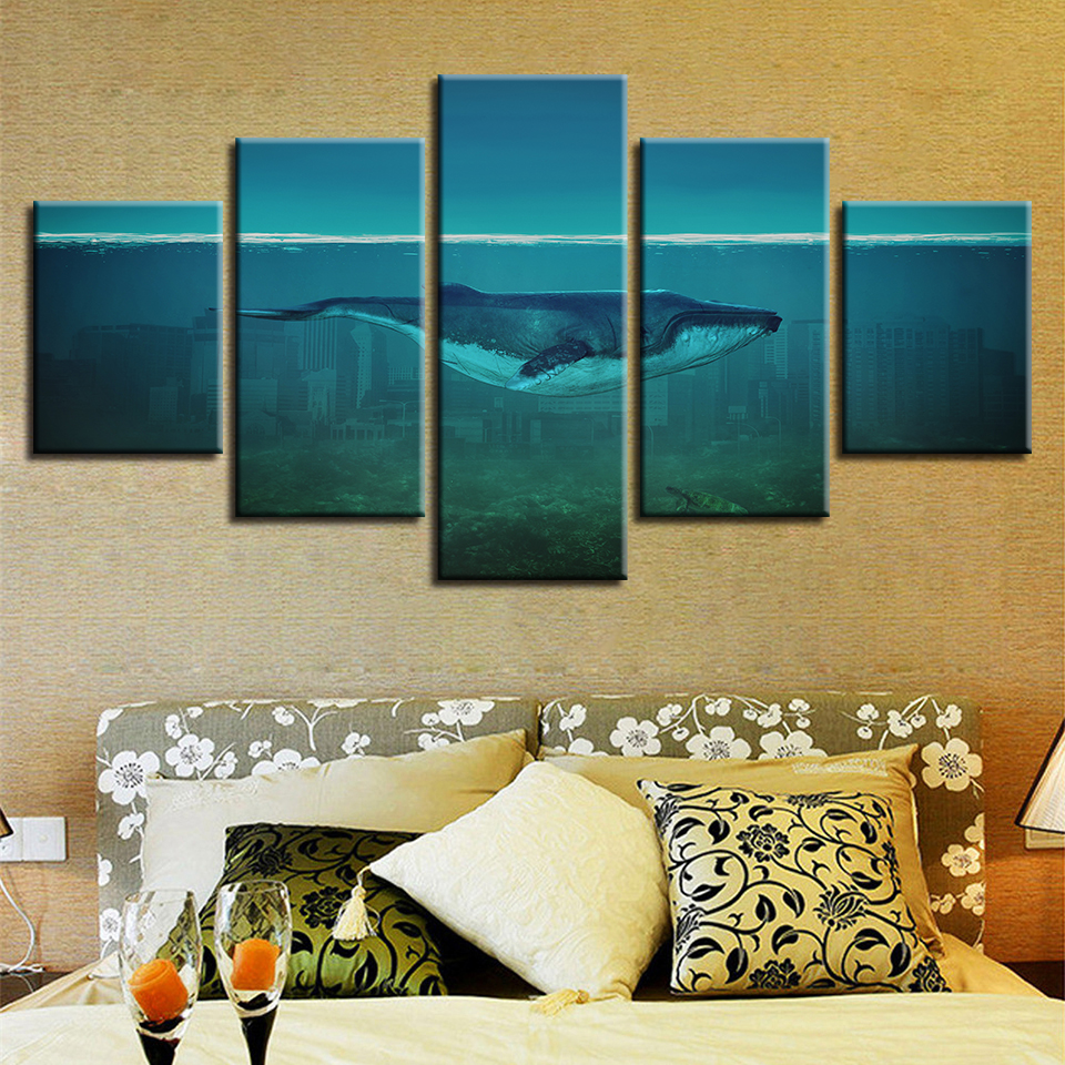Canvas Paintings Living Room Decor 5 Pieces Dolphin In The Sea Bed Swim Pictures HD Printed Whale Poster Modular Wall Art Frame