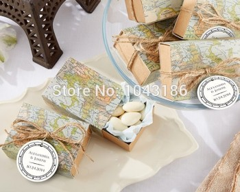 Wedding favor sweet box - Map Favor Box for Bridal shower favor box 300Pcs/lot Candy bag