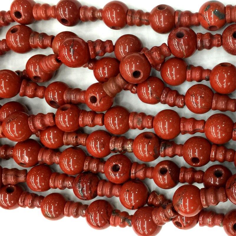 De alta calidad natural red Jasper Buddha de la pagoda Tibet Guru Cuentas joyería apta DIY Collares (10 Cuentas /Lot) 04219